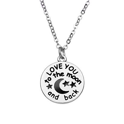 YOOE Geometric Circle Letter Carving Star Moon Pendant Necklace,Retro Round Cake Black Star Moon Necklace for Women Men (Silver)