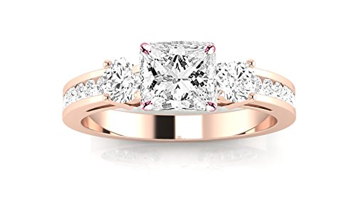 14K Rose Gold 1.4 CTW Channel Set 3 Three Stone Diamond Engagement Ring w/ 0.75 Ct Princess Cut G Color VS2 Clarity - Round Stone Ring 3 40