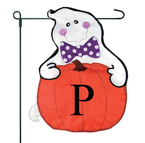 JEC Home Goods Home Garden Flag Ghost Monogram Halloween Gar