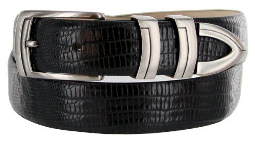 [8191 Italian Calfskin Leather Designer Dress Belts (Lizard Black, 38)] (Calfskin Belt)