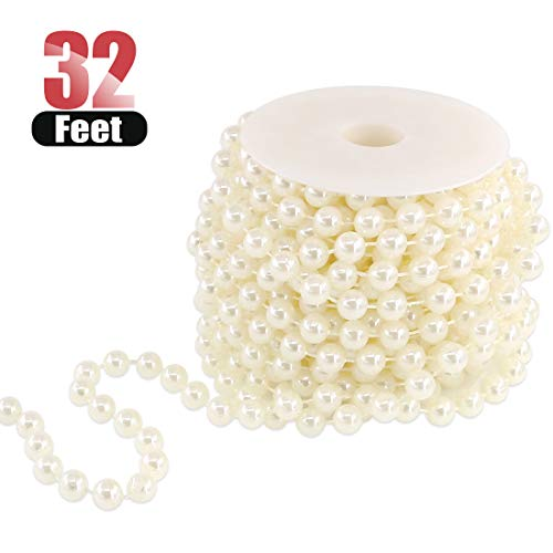 (Hilitchi Large Ivory Pearls Faux Crystal Beads by The Roll for Wedding Centerpieces Party Party Garland Wedding Centerpieces Bridal Bouquet Crafts Decoration (10M Length))