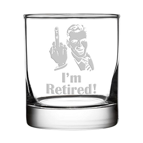 Crass Glass I'm Retired! Double Old Fashioned/Whiskey Glass (Man) by Crass Glass