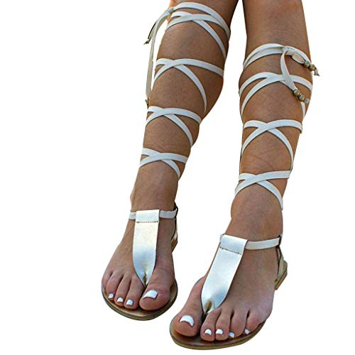 Women Gladiator Sandals Flat,Summer Strappy Lace Up Open Toe Knee High Flat Sandal Silver ()