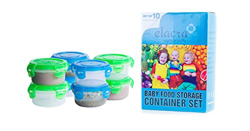 Elacra Baby Food Storage Freezer Containers BPA-Free Airtight Small Plastic Set of 10 - 3.4 Ounce Pink and Purple