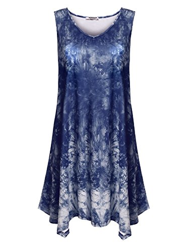 HOTOUCH Womens V Neck Sleeveless Asymmetrical Hem Solid Tie Dye Tunic Top (Navy Blue XL) (Dip Top Hem)