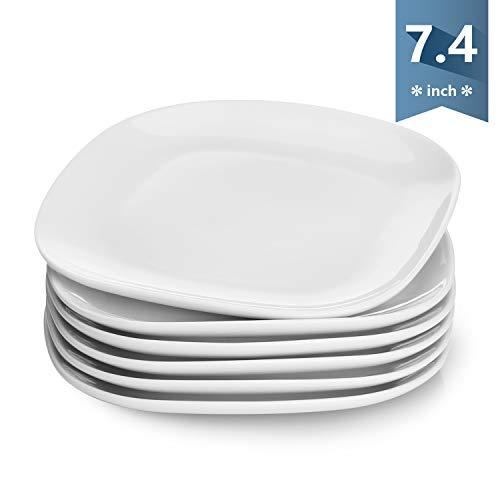(Sweese 153.001 Porcelain Square Dessert Salad Plates - 7.4 Inch - Set of 6, White)