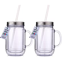 Cupture 2 Vintage Clear Mason Jar Tumbler Mug With Stainless Steel Lid and Straw - 20 oz