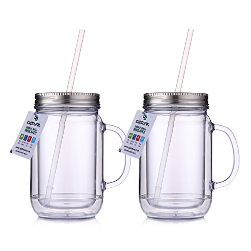 ear Mason Jar Tumbler Mug With Stainless Steel Lid and Straw - 20 oz ()