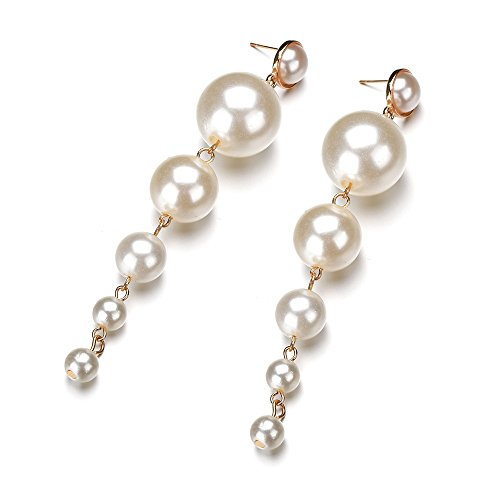 (Pearl Dangle Earrings, Long Big Pearls Drop Earrings for Women Girls )