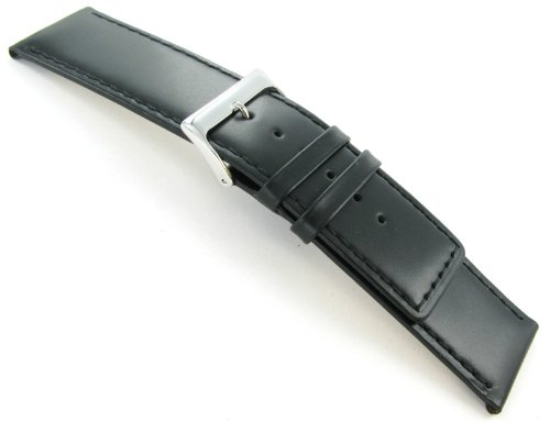 28mm Speidel Oiled Tanned Leather Stitched Padded Square Tip Black Watch Band