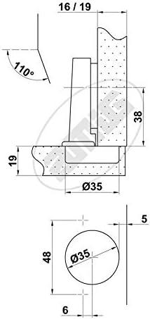 AMIG 6255 Bisagra Cazoleta Set de 20 Piezas