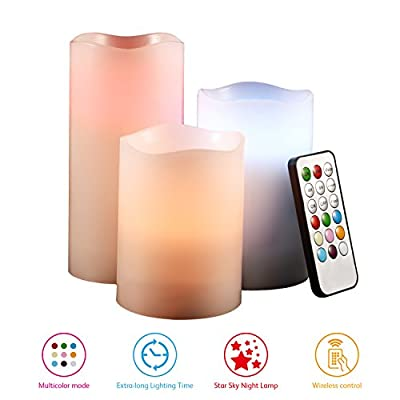 """Flameless Candles by GEANOV 4"""" 5"""" 6"""" Set of 3 Ivory Dripless Real Wax Pillars Include Realistic Dancing LED Flames and 18-key Remote Control with Timer Function and SKY STAR laser projection function"""