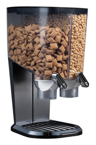 Rosseto EZS1098 EZ-SERV100 2-1/5-Gallon Cereal-and-Snack Dispenser, Black and Chrome