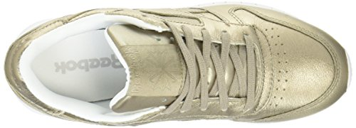 Reebok Classic Leather L, Women's Low-Top, Gymnastics Shoes Gold (Pearl Metallic-grey Gold / White)