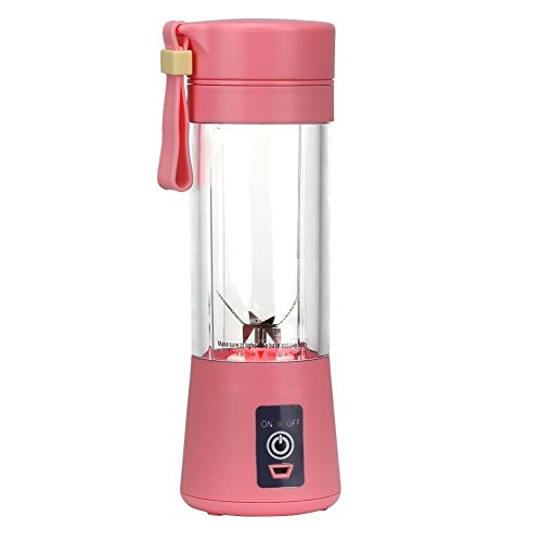 Portable USB Personal Blender Juicer Cup for Smoothies Shakes,Mini Travel Blender,Upgrade 6 Blades,Rechargeable,380ml (Pink)