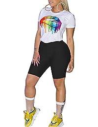 4713dbda246df Womens 2 Piece Shorts Outfits Spandex Biker Lip Print Shorts Set Outfit Two  Piece Tracksuits