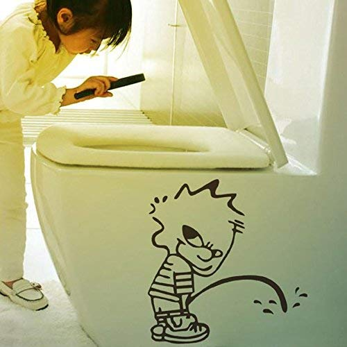 2017 Modern Naughty Kids Bad Boy Toilet Bathroom Decals Art Vinyl Glass Wall Stickers Home - Wall Sticker -