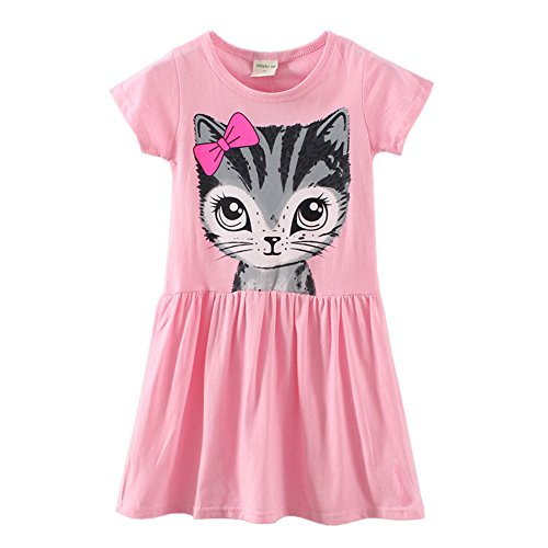 LittleSpring-Little-Girls-Dresses-Summer-Cat-Printing