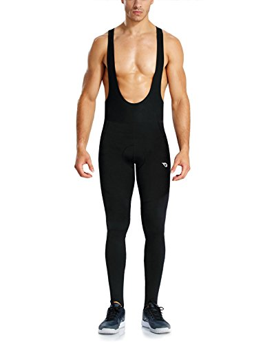 Baleaf Men's Padded Thermal Stirrup Cycling Bib Pants Black Size (Pro Bib Knickers)