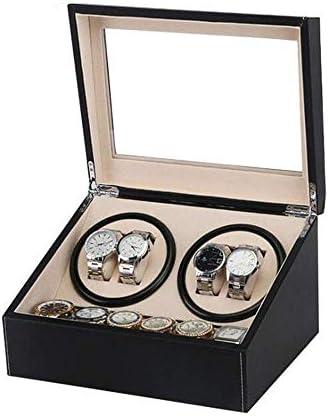 4つの腕時計の収納箱の陳列箱のために木自動腕時計の巻取り機PUの革箱