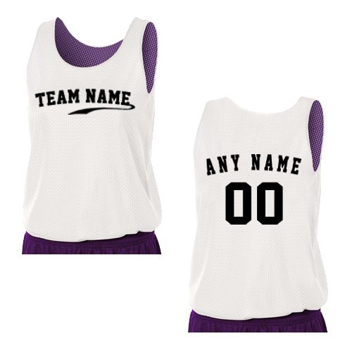 Basketball Purple Custom (Purple/White Ladies Medium Reversible CUSTOM (Front and/or Back) Tank Uniform Jersey Top)