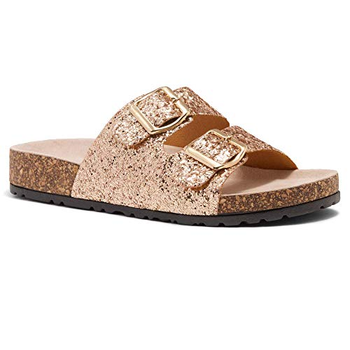- Herstyle Softey Women's Comfort Buckled Slip on Sandal Casual Cork Platform Sandal Flat Open Toe Slide Shoe 1836 RoseGoldGlitter 11.0