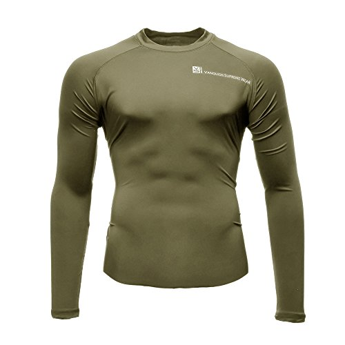 Fusion VS Wear Men's Microfiber Slim Fit High Compression Poly-Lycra Long Sleeve Raglan Athletic Sport Fitted Training Thermal Baselayer Tactical Crew Shirt Made in USA Large Tan