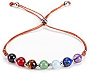 Cherry Tree Collection Natural Gemstone Chakra Bracelet   Adjustable Size Nylon Cord   6mm Beads, Silver Space
