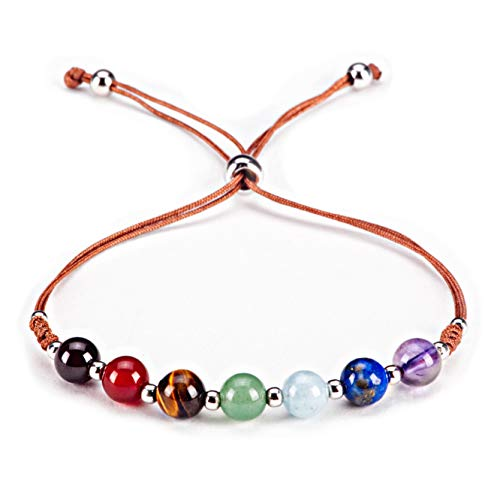 Cherry Tree Collection Natural Gemstone Chakra Bracelet | Adjustable Size Nylon Cord | 6mm Beads, Silver Spacers | 5.0-6.5
