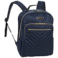 """WMB Travel Pro 41pclM1jMZL._SS247_ Kenneth Cole Reaction Women's Chelsea Backpack Chevron Quilted 15"""" Laptop Computer Fashion Work, School, College, & Travel Bookbag Daypack Bag, Navy, One Size"""