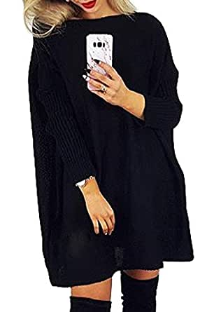 CILKOO Women's Winter Fall Oversized Off Shoulder Ribbed Cable Knit Long Pullover Tunic Sweater Dresses for Women to Wear with Legging Black US 4 6
