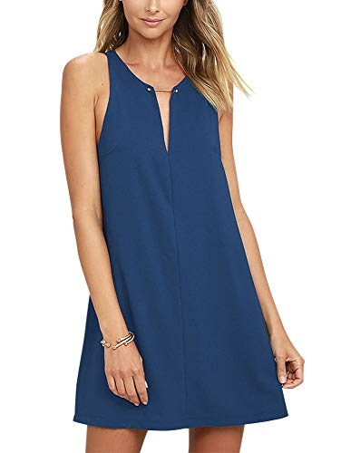 (BELONGSCI Women's Casual Sleeveless V Neck Straight Shift Dress Blue)