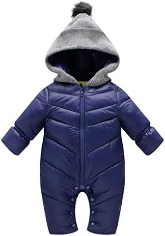 MNLYBABY Unisex Baby Hooded Puffer Jacket Jumpsuit Winter Warm Snowsuit Romper