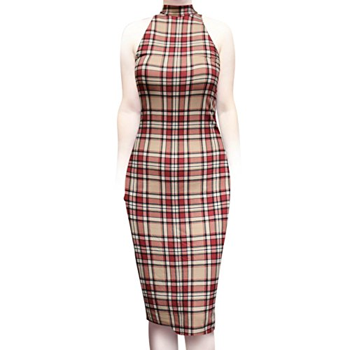 Sexy Dress Casual Women's Office SMT Plaid Sleeveless High Neck Midi Taupe Bodycon Work ShopMyTrend Pqt8Fxw6x
