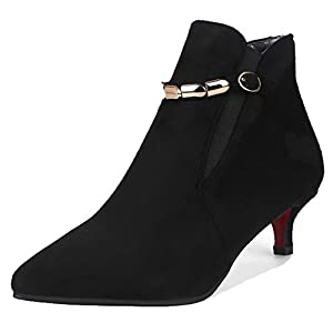 6fea919ad31 Aisun Women s Metal Chain Dressy Buckle Strap Elastic Pointed Toe Booties  Pull On Stiletto Kitten Heel Ankle Boots