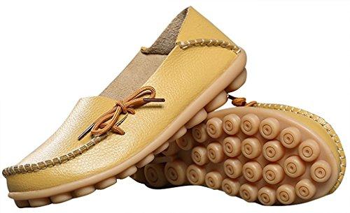 Fangsto Dames Leren Slipper Instappers Platte Schoenen Slip-ons Sty-1 Geel