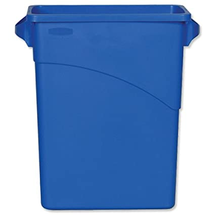 60 L Rubbermaid Slim Jim Recycling Container with Handles Blue