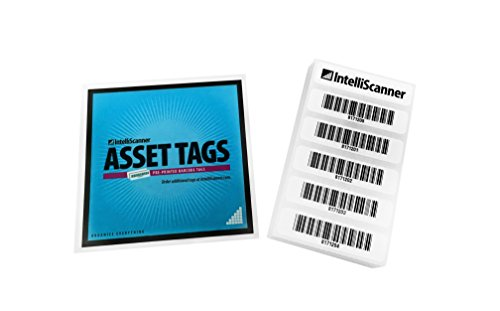 IntelliScanner Asset Tags - Pre-Printed Barcode Labels (Pack of 100)