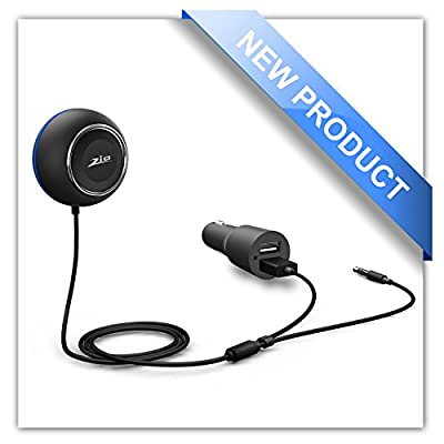 Zio Rotatable Knob Adjustment Car Kit Hands-Free APTX CSR Bluetooth 4.0 Music Receiver for Car (Convenient Siri /Voice Activation /Dual USB Car Charger/Built-in Microphone and Magnetic Base Included)