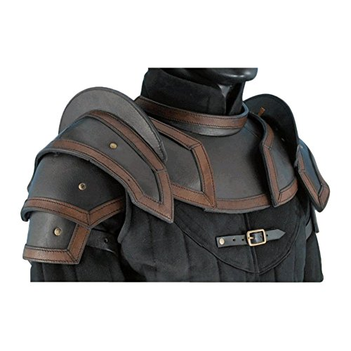 Armor Venue: Leather Shoulder Armour with Neck Guard Black Large (Chest Plate Armor)