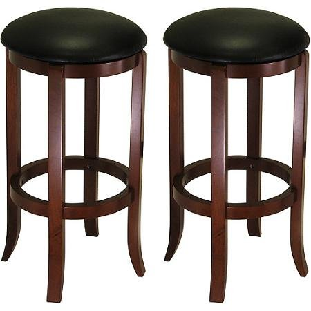 """30"""" Swivel Bar Stools with Faux Leather Seat, Set of 2, Black and Walnut"""
