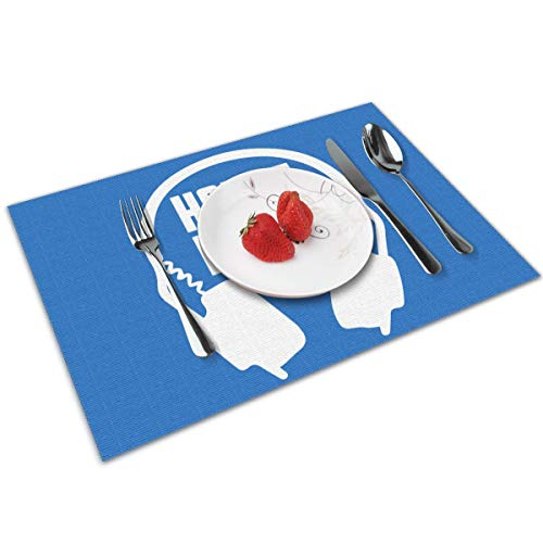 Candy Ran House Music Indoor/Outdoor Placemats/Place Mats/Table Mats Set of 4, Kitchen Tablemats for Dining Table, Non-Slip Washable Heat Resistant -