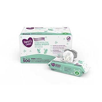 Parents Choice Fragrance Free Baby Wipes 500 Count(2 packs)