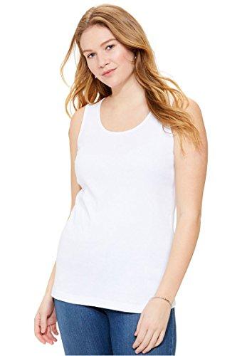 Stretch Rib Knit Tank (Women's Plus Size Rib-Knit Tank White,M)