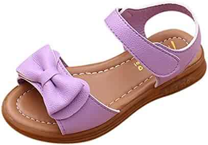 4093e47a4 Voberry Girl s Leather Strap Bowknot Princess Open Toe Sandals(Toddler Little  Kid Big