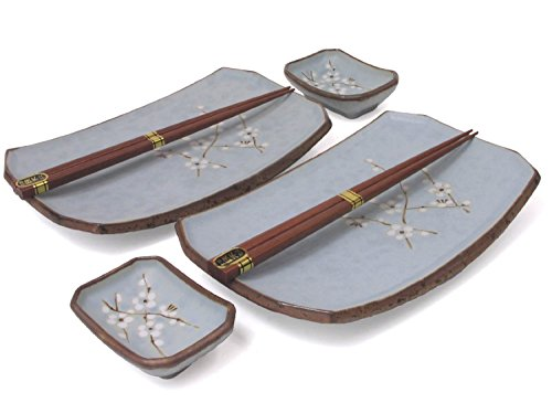 Japanese Sushi Plates Set for Two with Chopsticks, Cherry Blossom by M.V. Trading