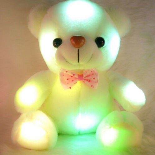 White Plush Geim Velvet Teddy Bear Multi-Color Rotation - Did Dash Cam