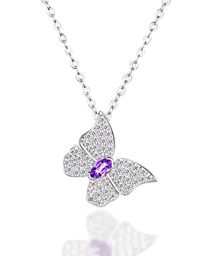 [Dorella Mothers Day Butterfly Pendant Necklace Sterling Silver Jewelry for Women with 18'' - 20'' Adjustable Rolo Chain , Amethyst (Amethyst Butterfly Pendant Necklace)] (Butterfly Chain Necklace)