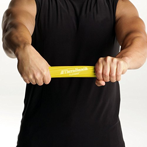 TheraBand FlexBar, Tennis Elbow Therapy Bar, Relieve Tendonitis Pain & Improve Grip Strength, Resistance Bar for Golfers Elbow & Tendinitis, Yellow, Extra Light, Beginner - 26107