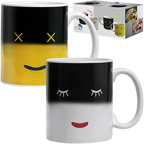 Magic Color Changing Funny Mug - 2 Pack Cool Coffee Tea Unique Heat Changing Sensitive Cup 12 oz Yellow & White Happy Face Design Drinkware Ceramic Mugs Birthday Gift Idea